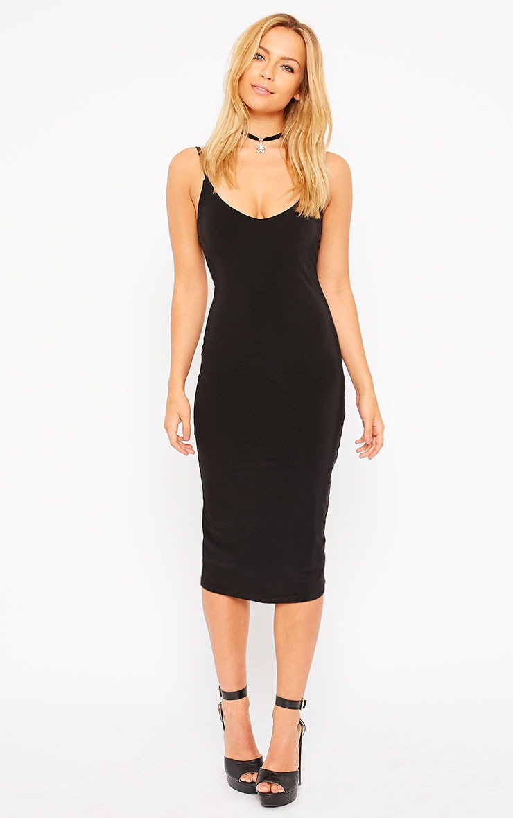 Harpe Black Slinky Midi Dress 3