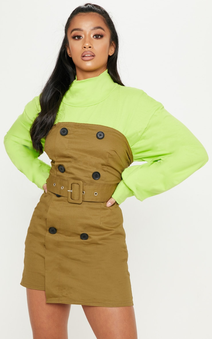 Petite Khaki  Bandeau Trench Dress 4