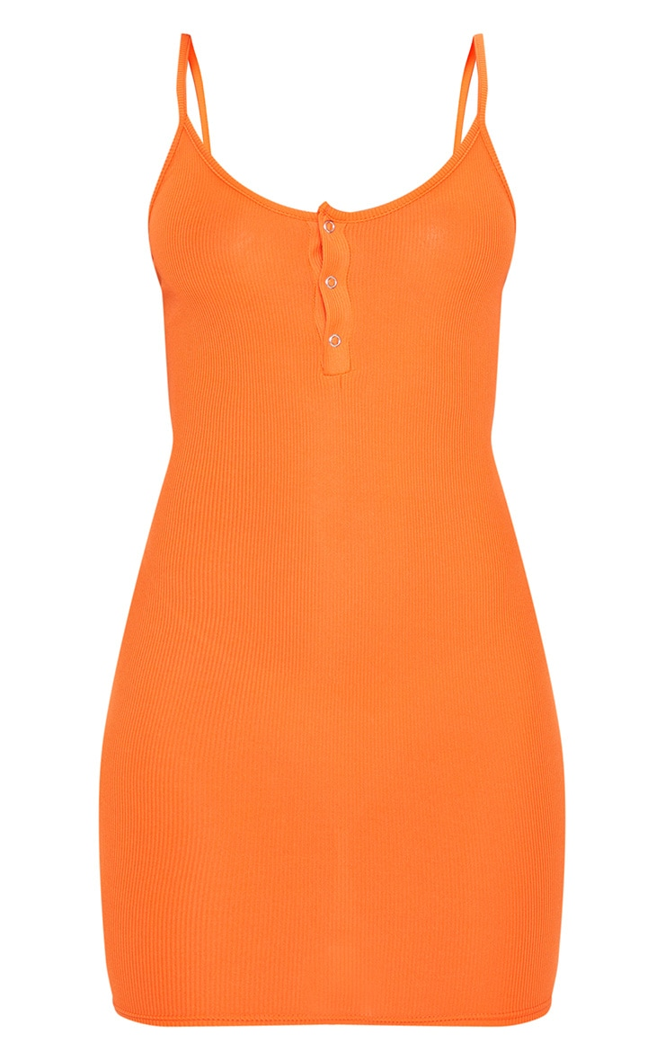 Bright Orange Button Detail Ribbed Bodycon Dress 3