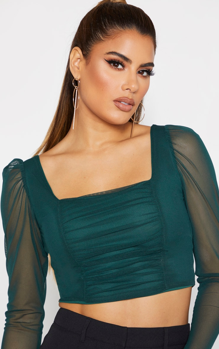 Tall Emerald Green Square Neck Mesh Ruched Long Sleeve Crop Top 5