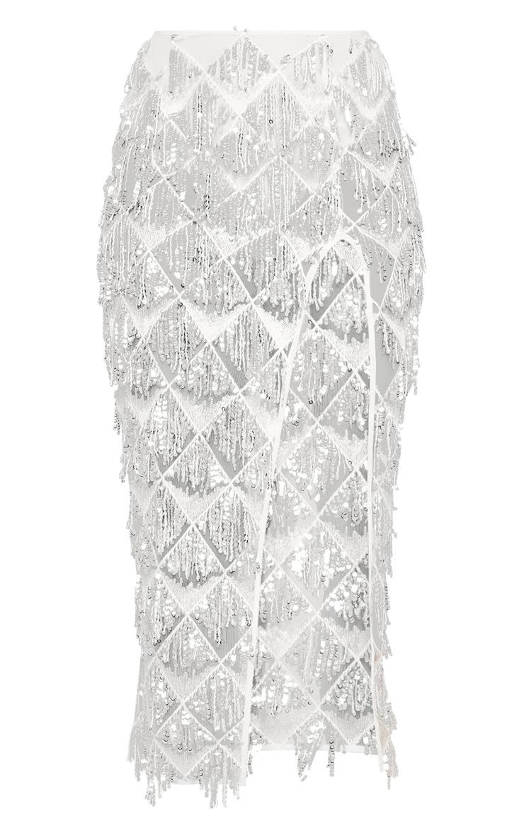 Silver Tassel Sequin Extreme Split Midaxi Skirt 3