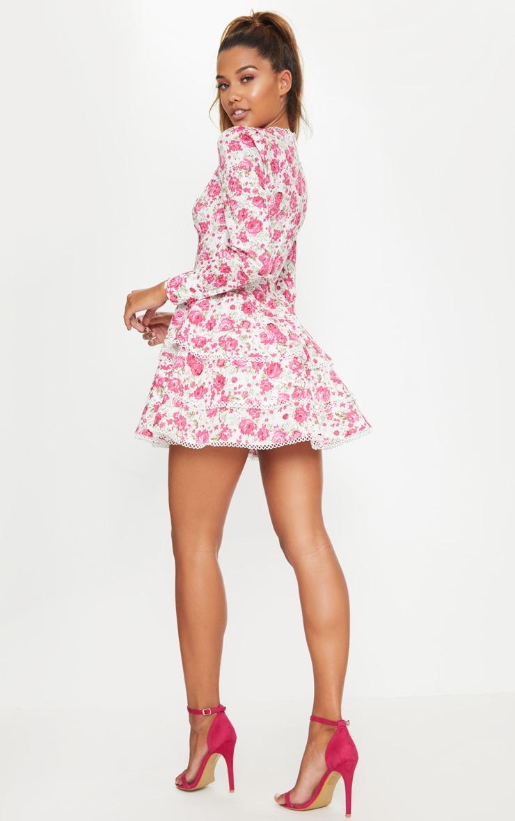 Pink Floral Trim Detail Tiered Skater Dress 2