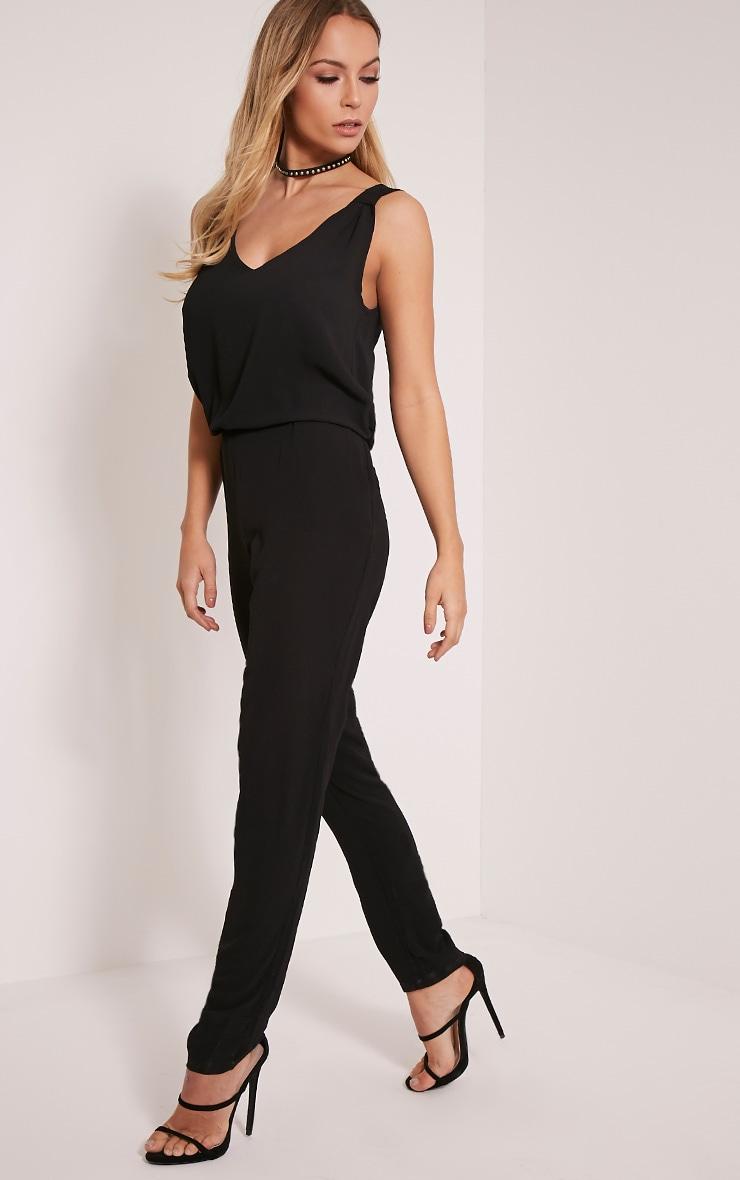 Jini Black Sleeveless Crepe Jumpsuit 1