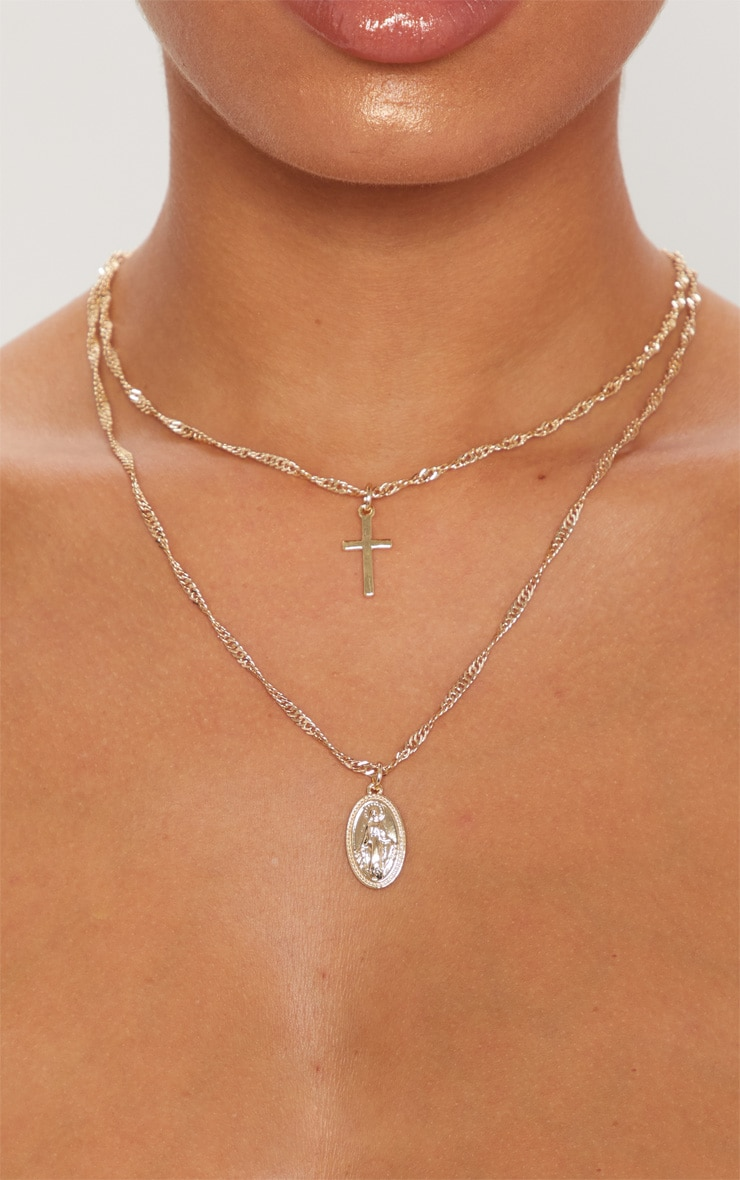 Gold Plated 18ct Renaissance Double Layer Cross and Pendant Necklace 2