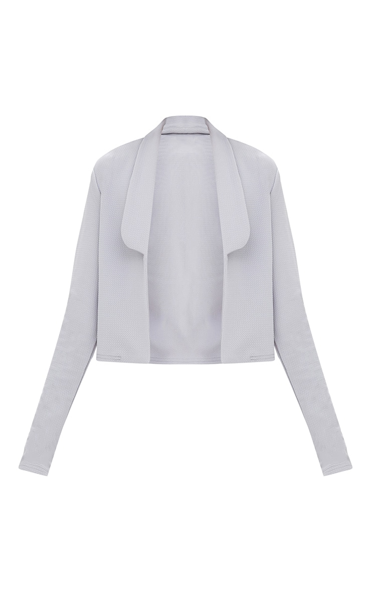 Grey Cropped Textured Blazer 3
