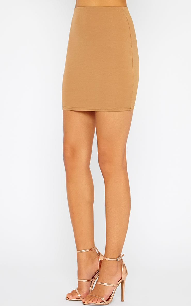 Basic Camel Scuba Mini Skirt 3