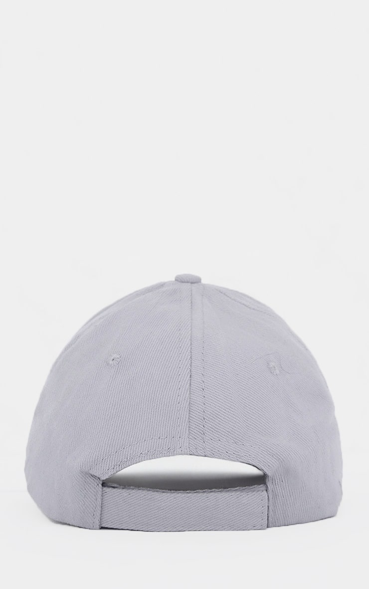 Light Grey Woven Baseball Cap 3