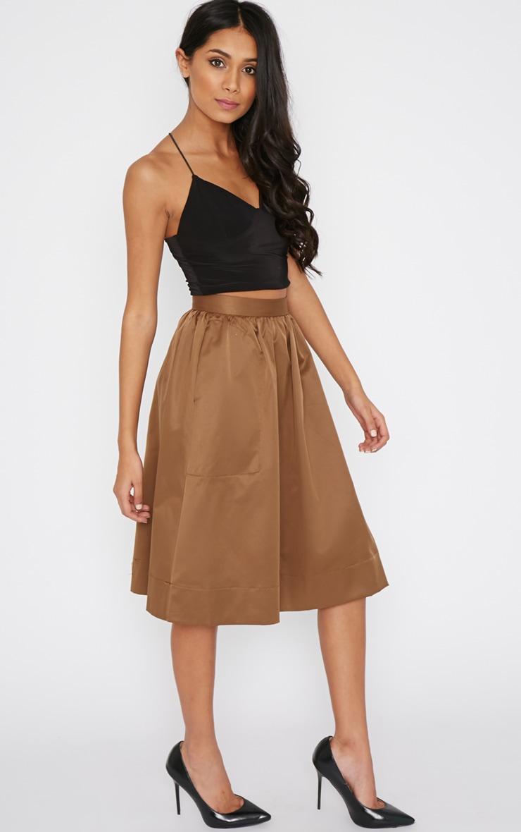 Dede Khaki A Line Midi Skirt  1