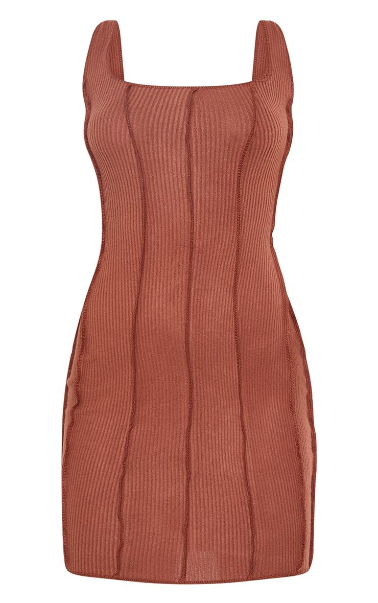 Chocolate Brushed Rib Overlock Stitch Sleeveless Bodycon Dress 5