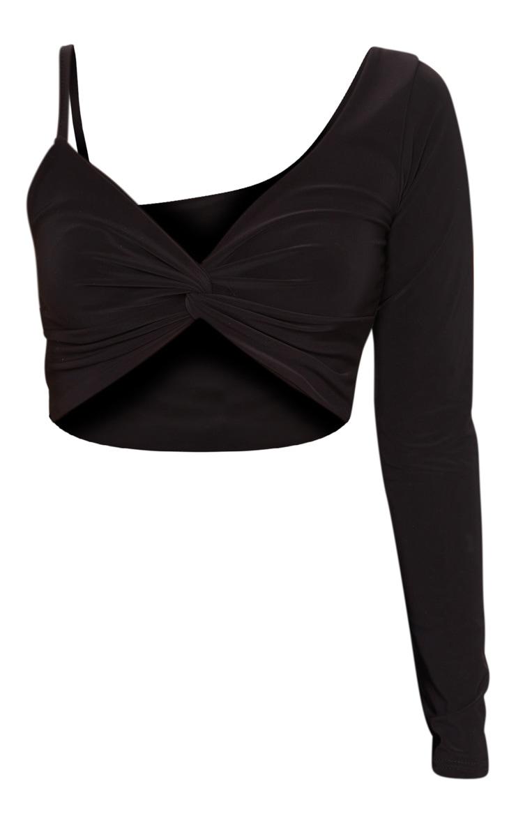 Black Slinky One Shoulder Drape Front Crop Top 5