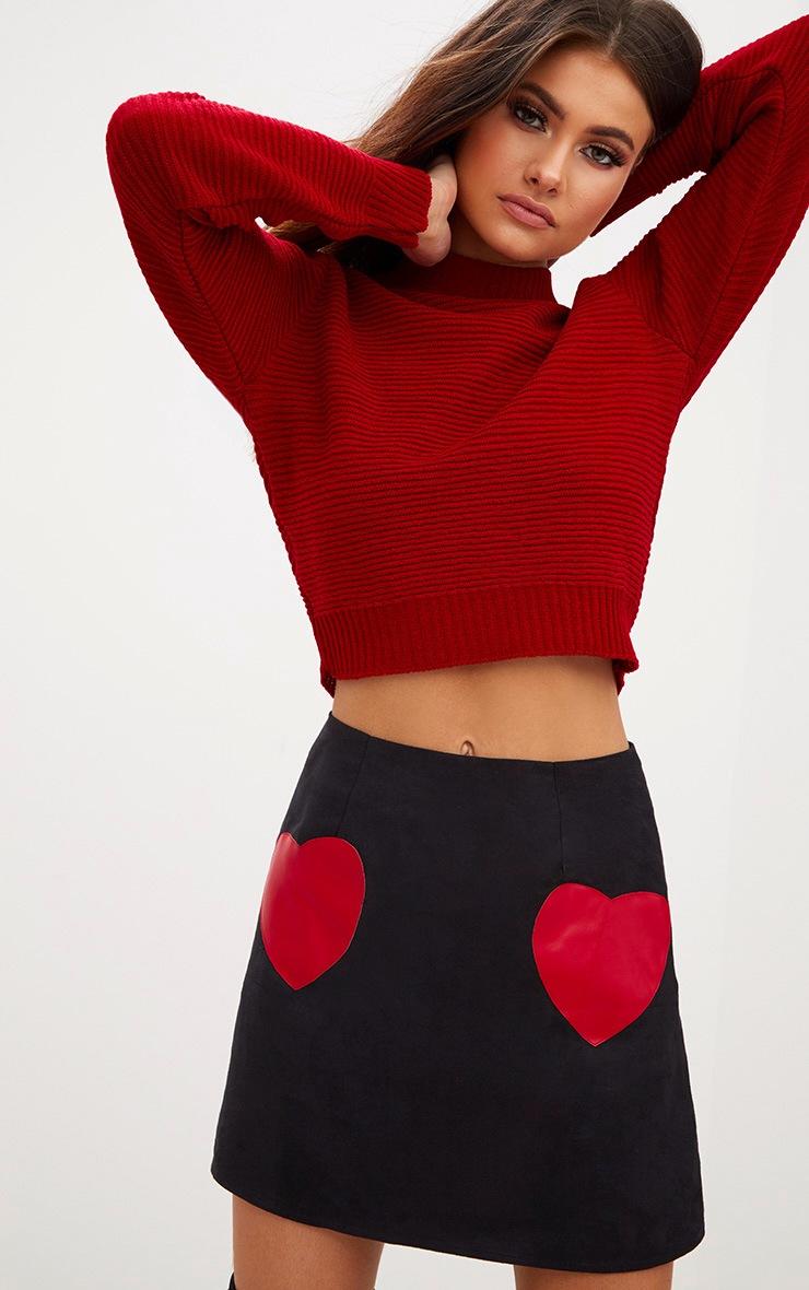 Black Faux Suede Heart Patch A Line Mini Skirt 1