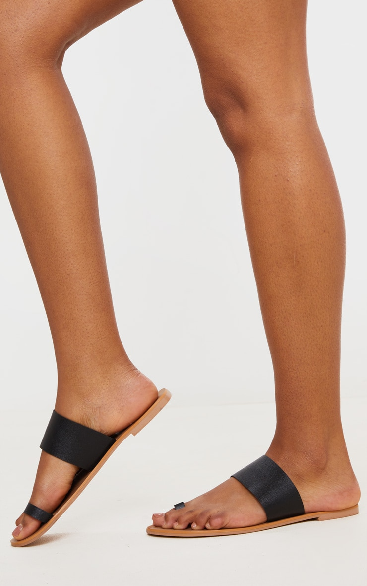 Black Toe Loop Single Leather Strap Mule Sandal 2