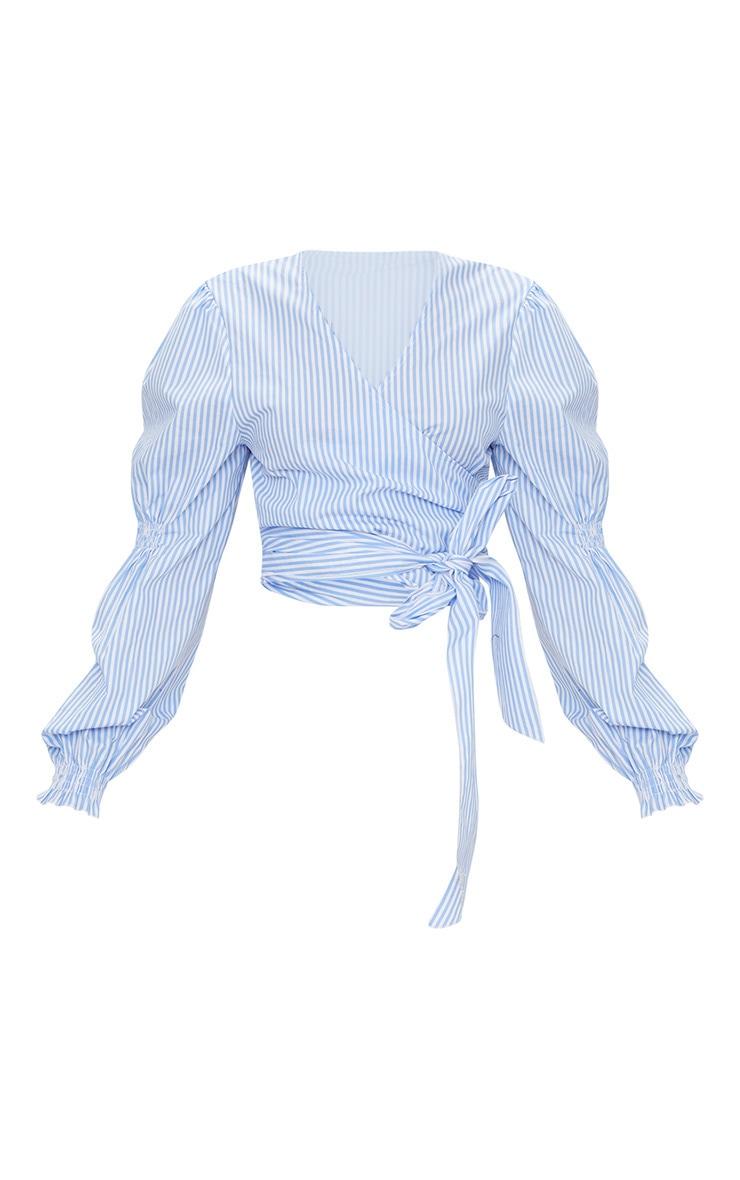 Blue Wrap Front Puff Shoulder Crop Shirt 3