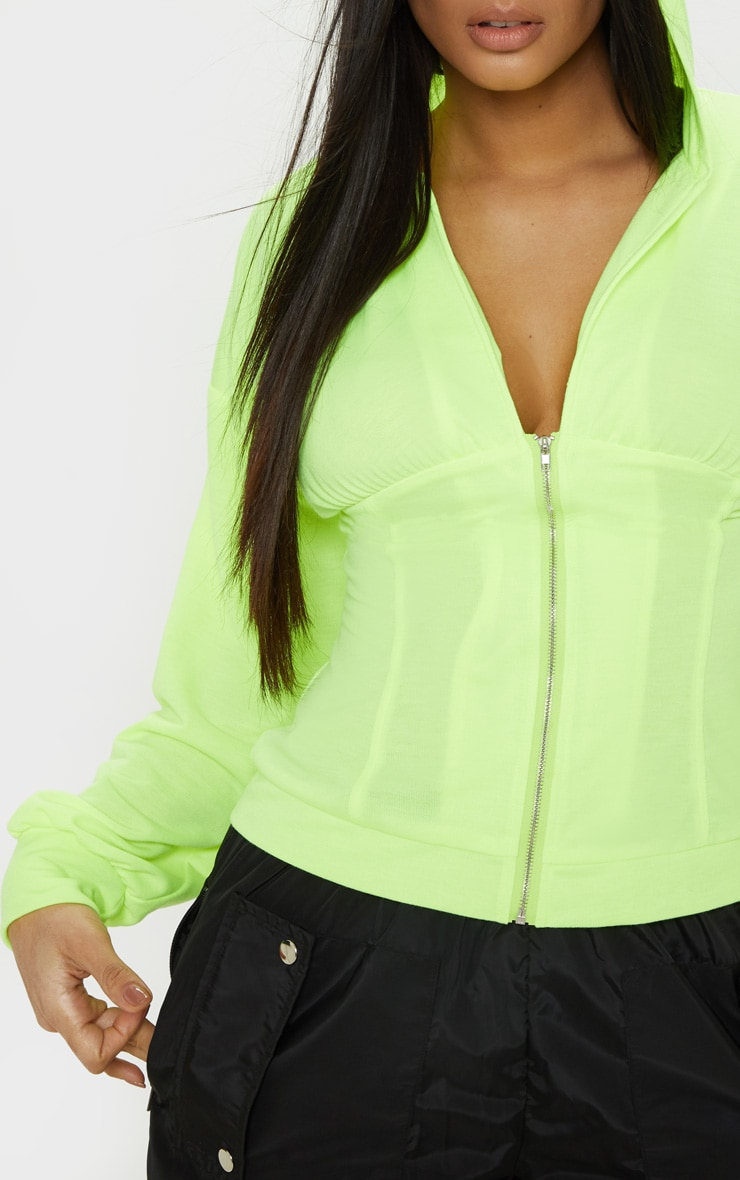 Neon Lime Ruched Zip Front Hoodie 5