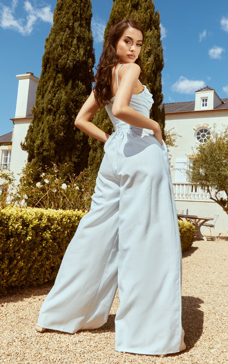 Pale Blue Ruched Cup Strappy Wide Leg Jumpsuit 2