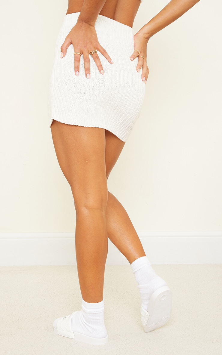 Cream Ribbed Knitted Button Mini Skirt 3
