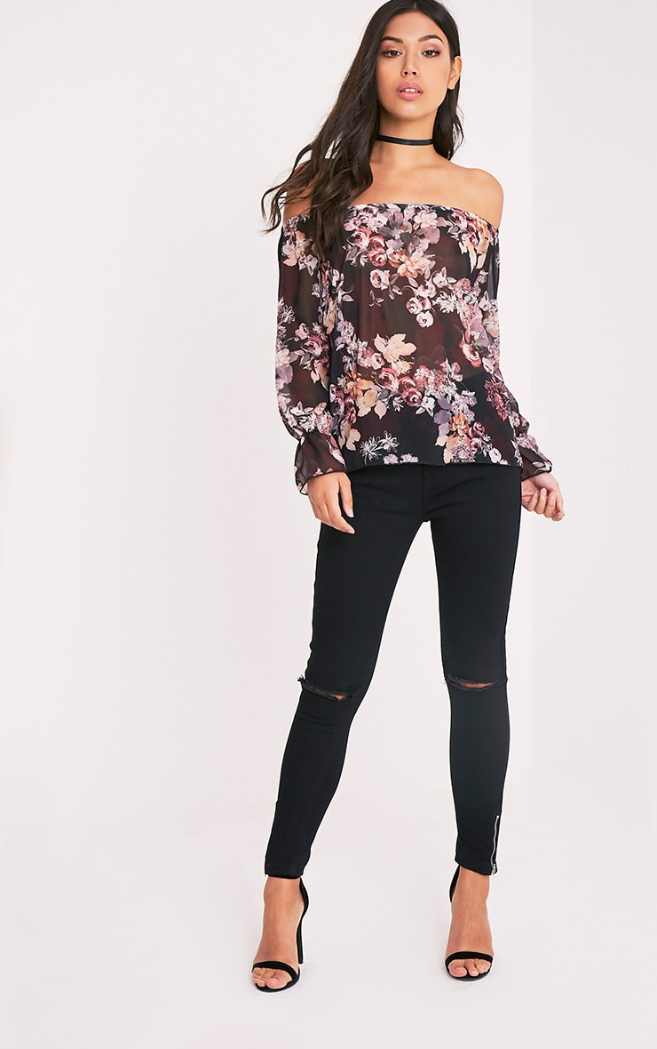 Graciel Black Floral Bardot Top 5