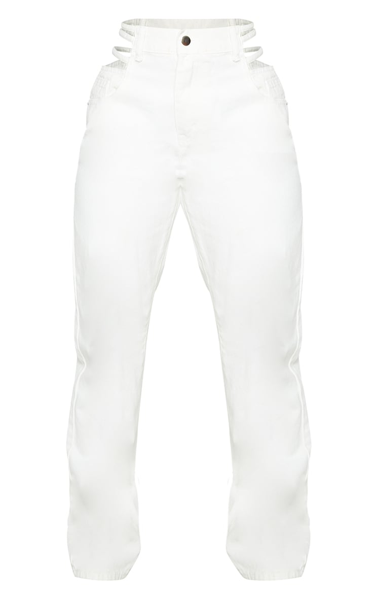 White Strappy Cut Out Hip Straight Leg Jeans 5