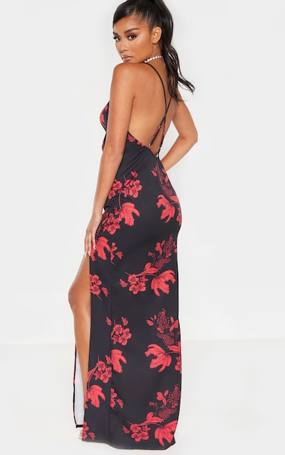 Black Floral Print Cowl Neck Button Maxi Dress
