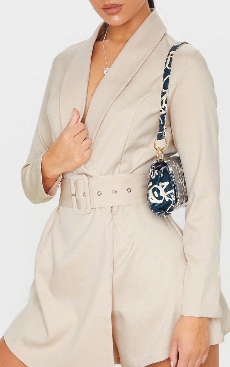 Nude Long Sleeve Tailored Belted Romper 5