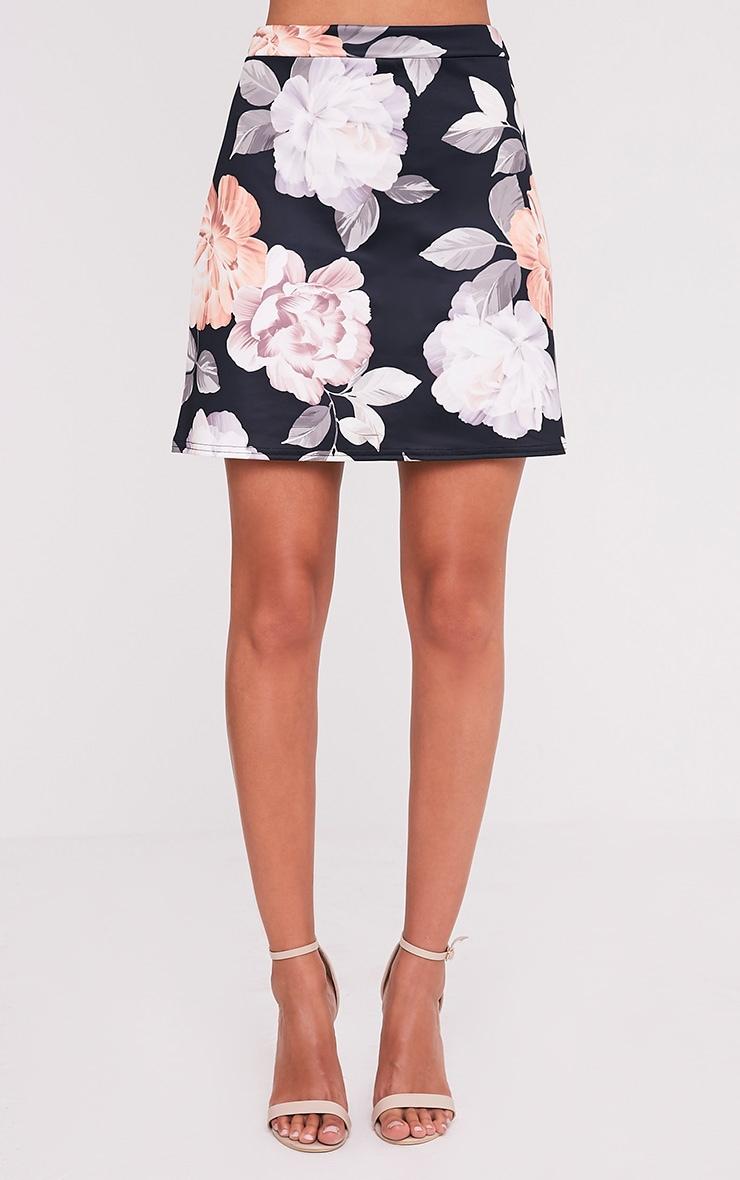 Deltie Nude Floral Print A-Line Mini Skirt 2
