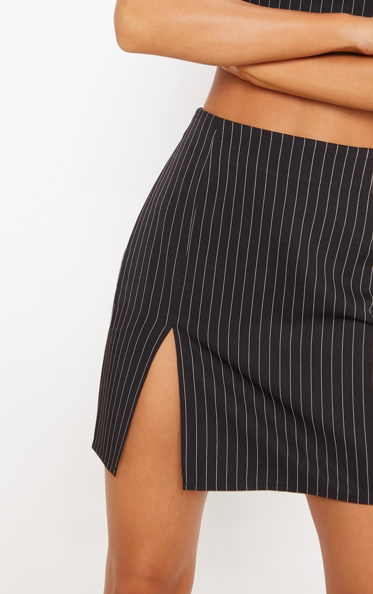 Black Pinstripe Split Detail Mini Skirt 6
