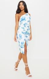 Blue Floral Print Ruched One Shoulder Midi Dress 3