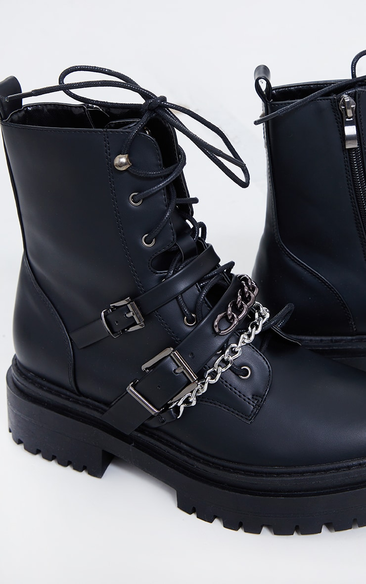 Black PU Chain And Buckle Detail Chunky Boots 4