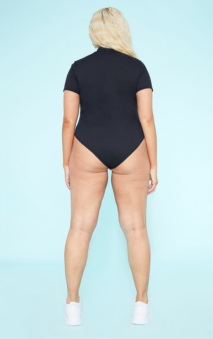 RECYCLED Plus Roll Neck Short Sleeve Bodysuit Black  6