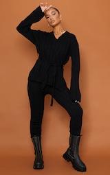 Black Belted Longline Sweater And Legging Lounge Set 3