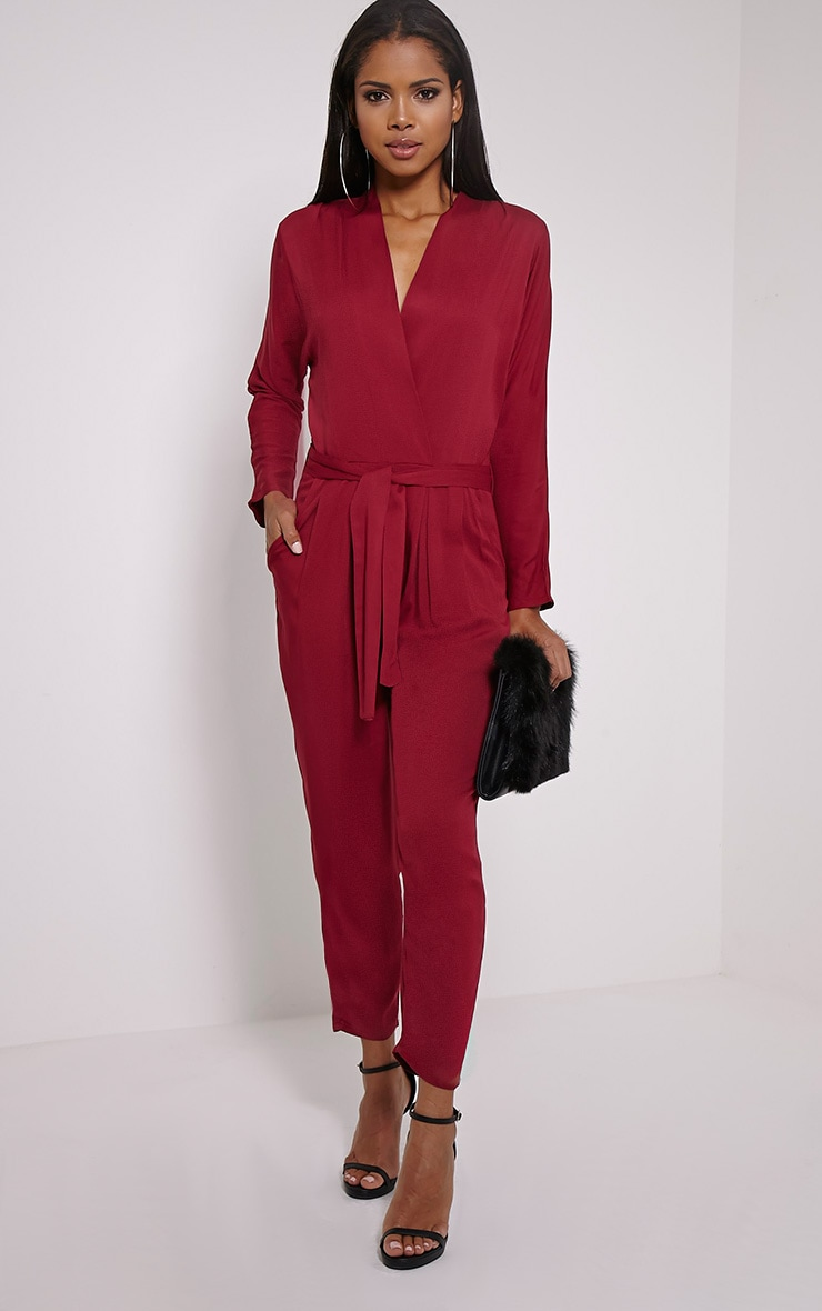 Briana Burgundy Wrap Jumpsuit 1