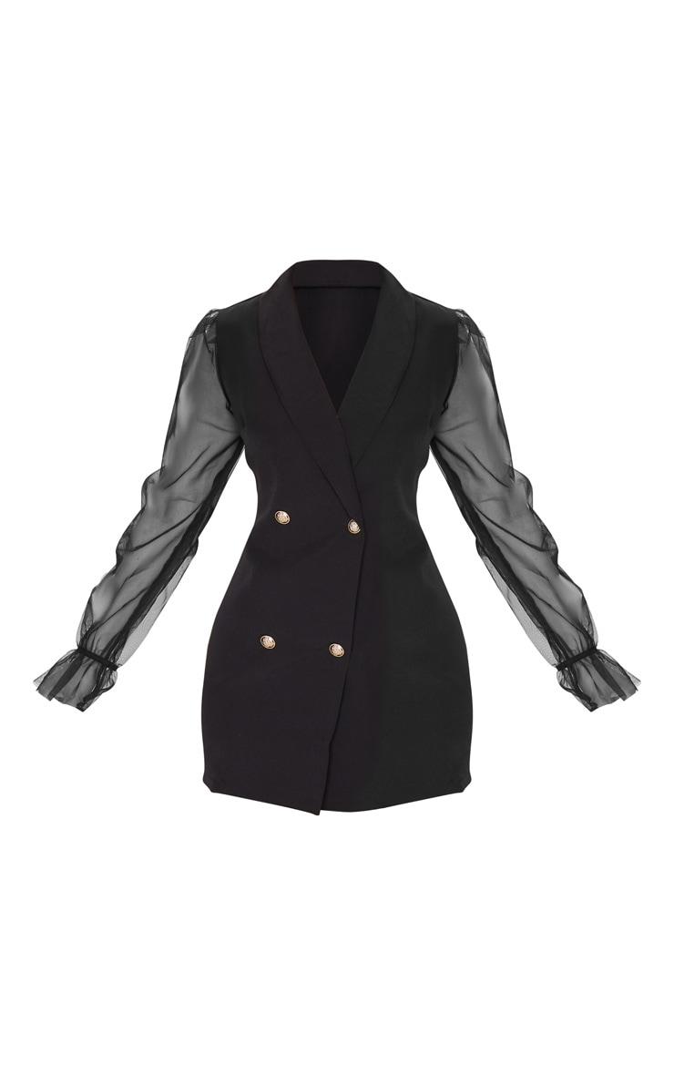 Black Button Up Organza Sleeve Blazer Dress 6