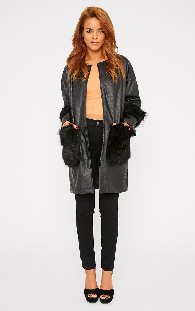 Nigela Black Leather Faux Fur Detail Collarless Coat-S 3