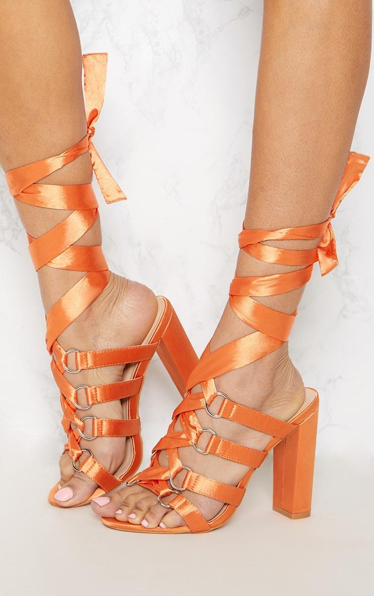 Orange Block Heel Ghillie Sandal 2