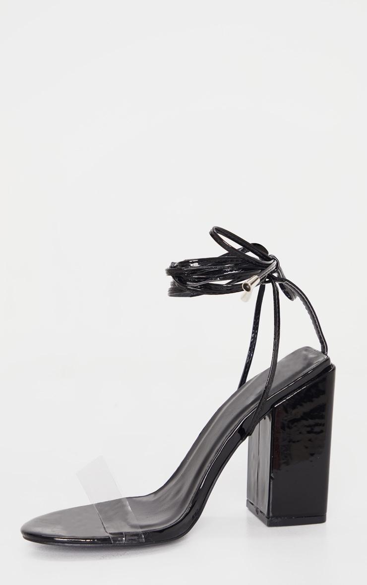 Sandales noires pointure large à talon bloc et lacets cheville  4