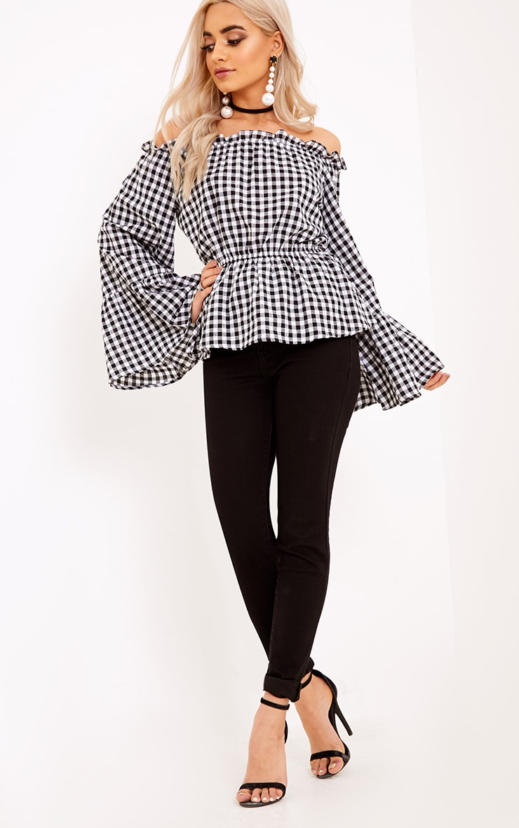 Nellie Black Gingham Check Bardot Top  4