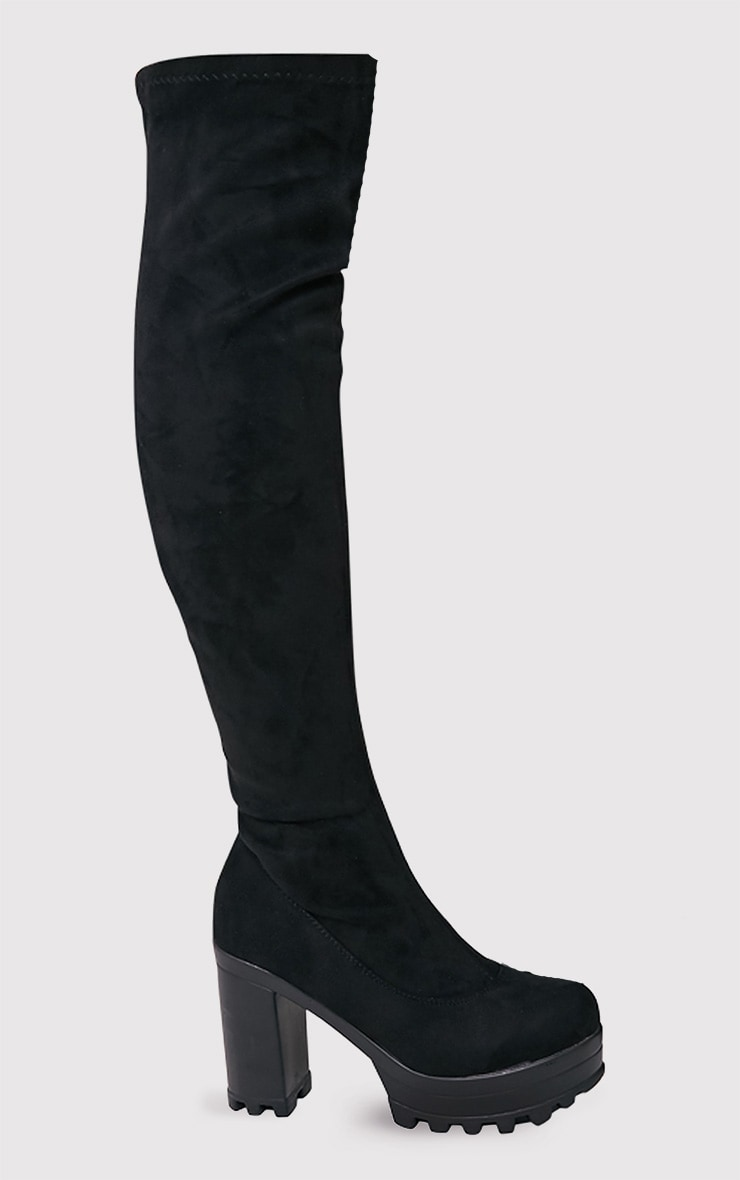 Kymberly Black Platform Cleated Sole Knee High Boots 1