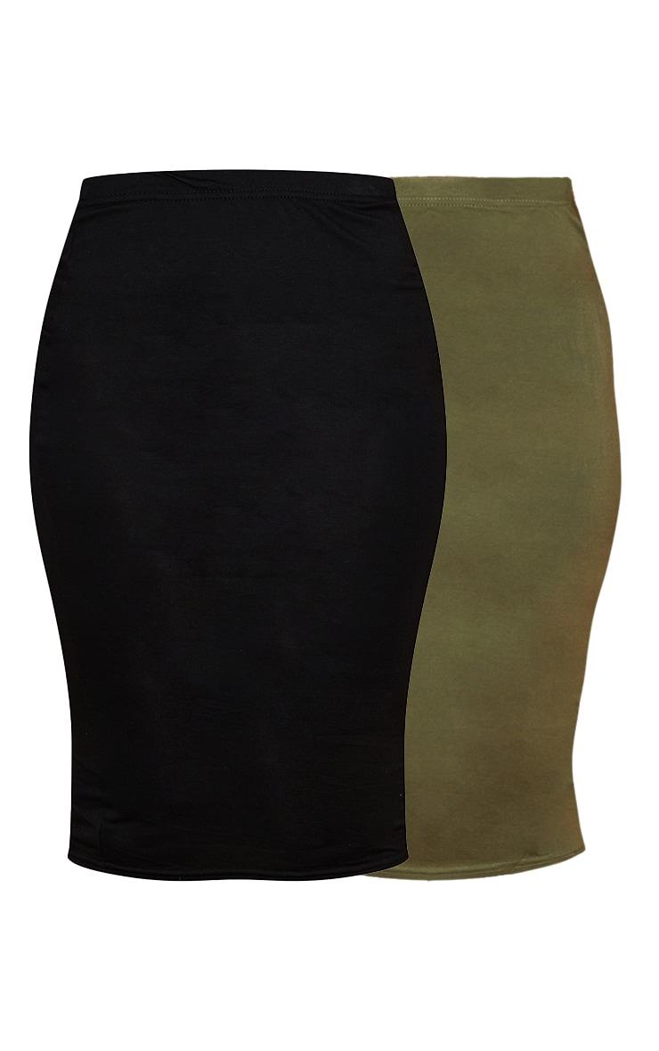 تنورة متوسطة الطول من قماش الجيرسي باللون الكاكي والأسود السادة - قطعتين 5