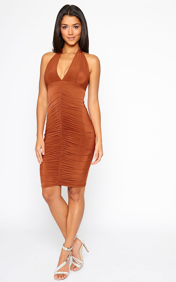 Lucienne Rust Plunge Ruched Front Dress 3