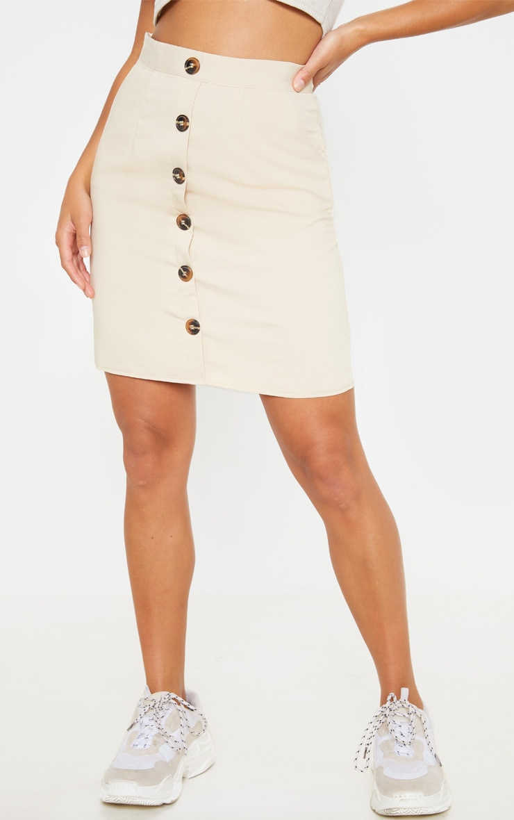 Petite Stone Button Front Aline Skirt 2