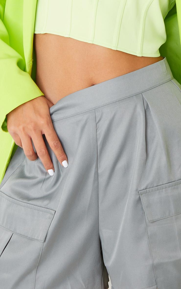 Charcoal Pocket Detail Cargo Shorts 5