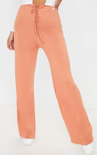 Chestnut Drawstring Jersey Wide Leg Jogger