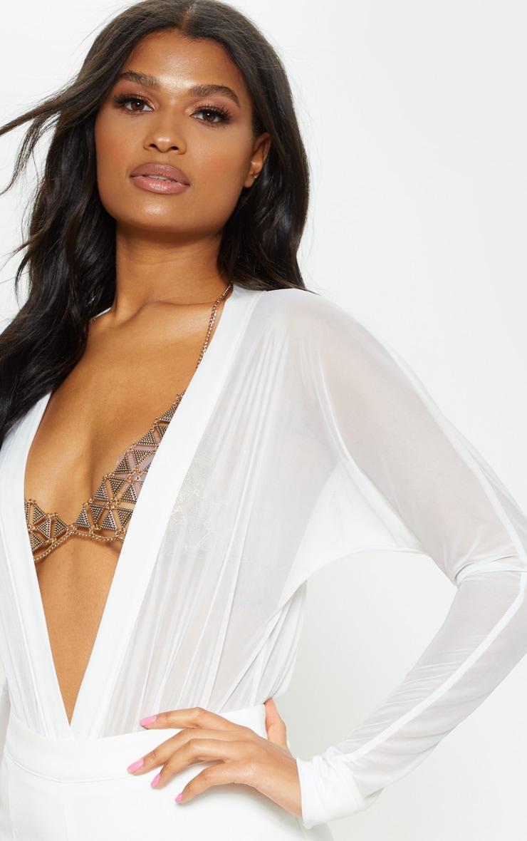 Yulia Cream Mesh Plunge Jersey Thong Bodysuit 5