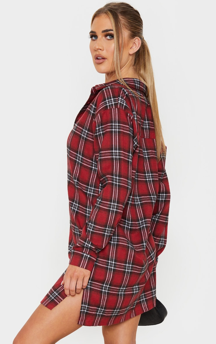 Red Oversized Split Hem Checked Shirt Dress 2