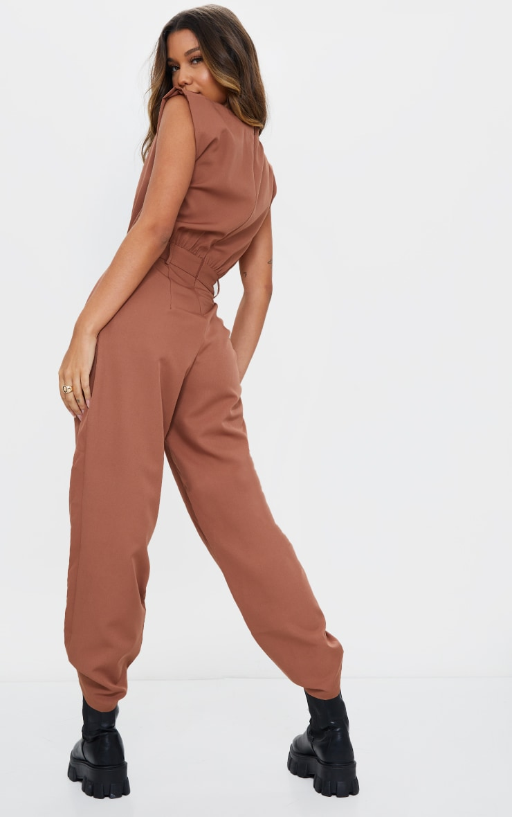 Chocolate Shoulder Pad Tailored Woven Jumpsuit 2