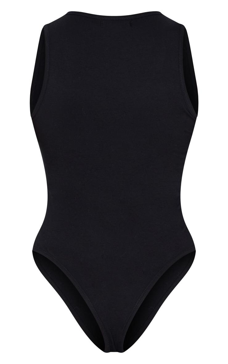 Petite - Body sans manches en coton noir à dos nageur 4