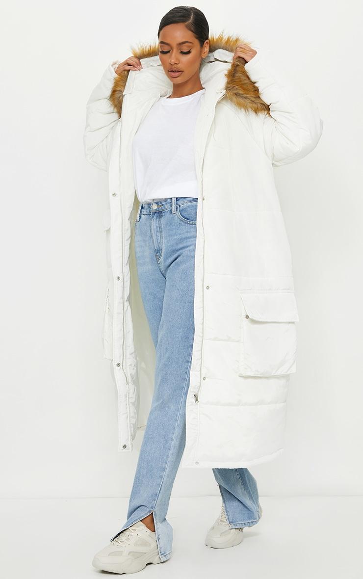 PRETTYLITTLETHING White Maxi Hooded Parka Jacket 1