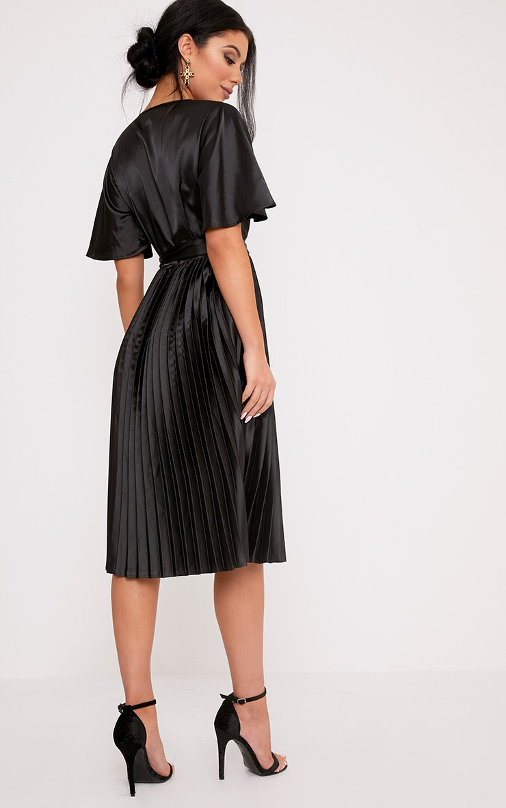 Mairee Black Satin Pleated Midi Dress 2