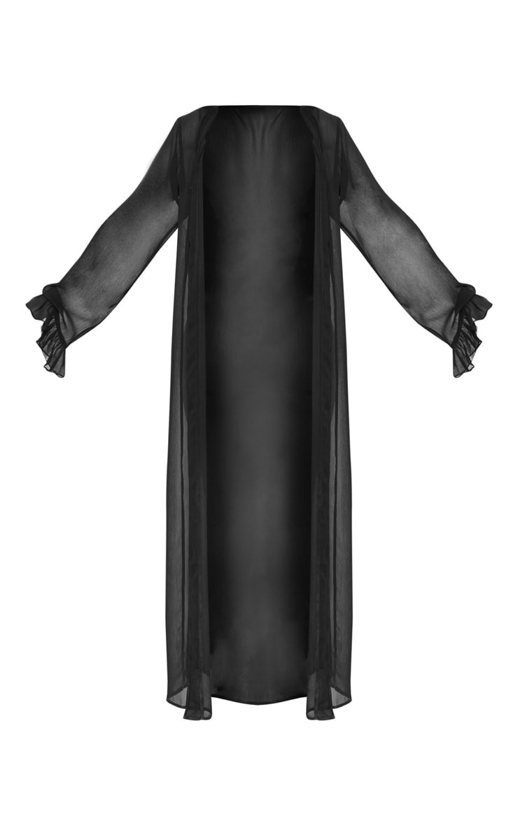 Petite Black Frill Sleeve Kimono 3