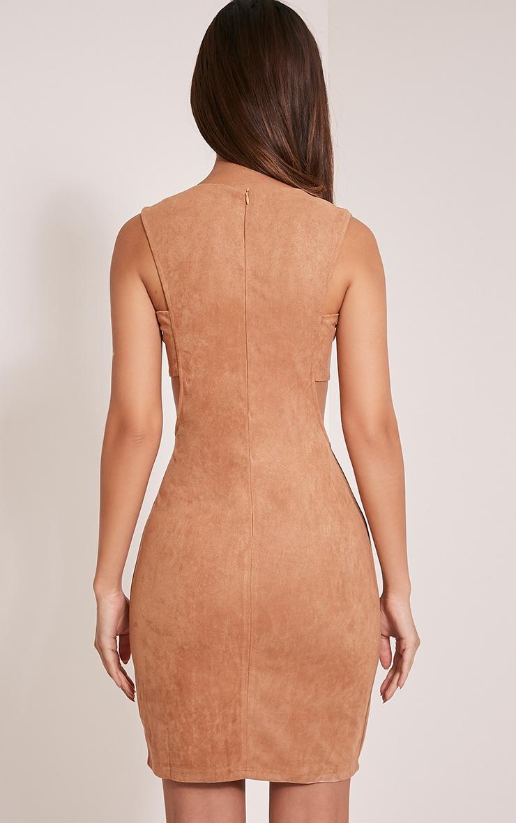 Amara Camel Suede Tab Side Dress 2